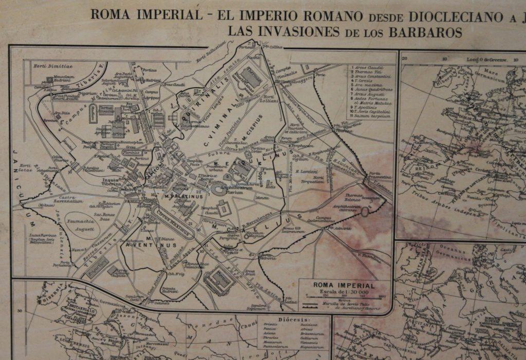 Dettaglio di una stampa litografica rappresentante la mappa di Roma Imperiale.