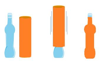 Esempio stilizzato di come funziona un'etichetta shrink sleeve.